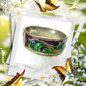 Vintage Cloisonné Bracelet Purple Green Blue Gold